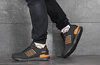 Мужские кроссовки в стиле Adidas (весна-осень, мужские, нубук, черно-оранжевые), фото 1