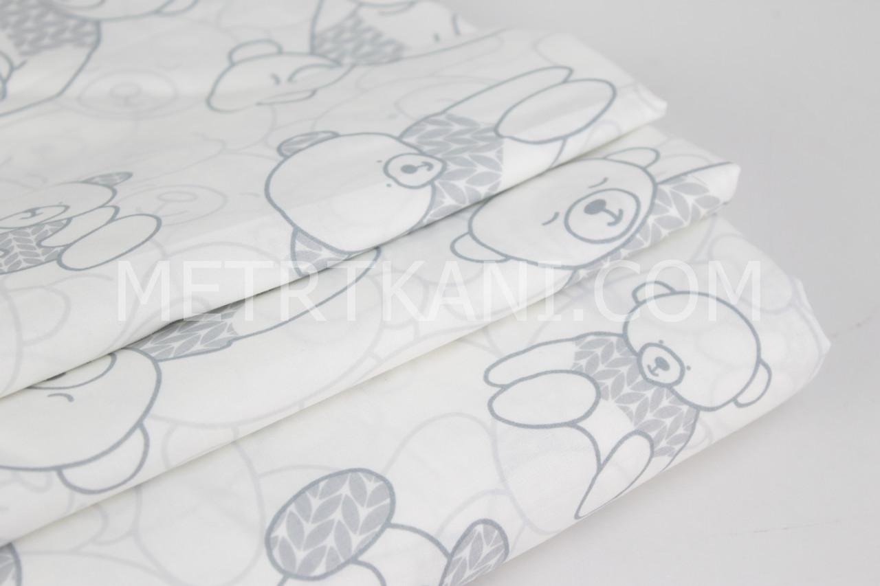 Хлопковая ткань премиум класса с мишками в серых свитерах №4-425