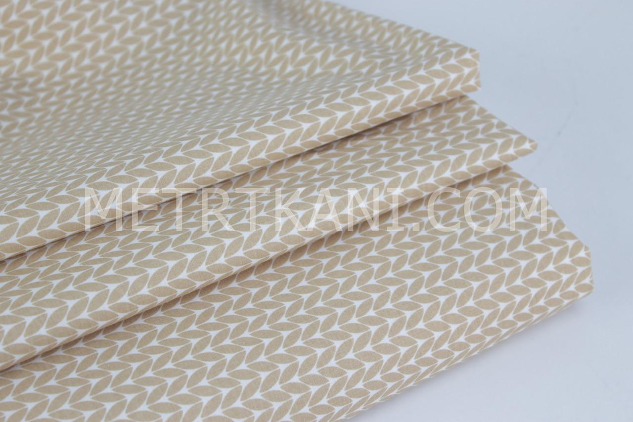 Бавовняна тканина преміум класу з кісками світло-коричневого кольору №5-426