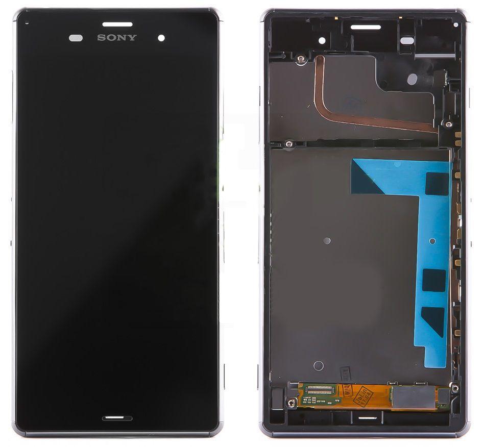 Дисплей (экран) для телефона Sony Xperia Z3 D6603, D6633, D6643, D6653 + Touchscreen with frame (original) Black