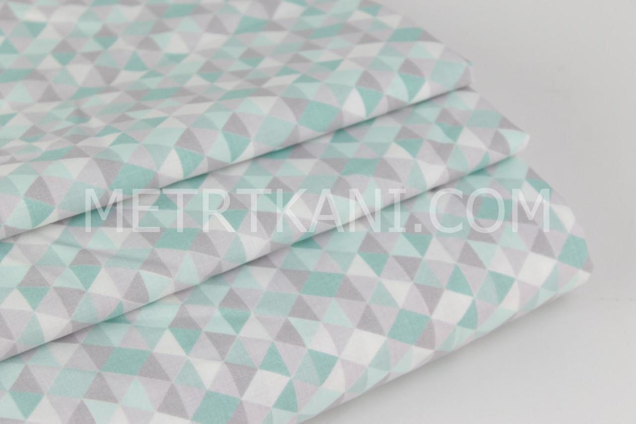 Хлопковая ткань премиум класса с серо-мятными ромбиками №2-452