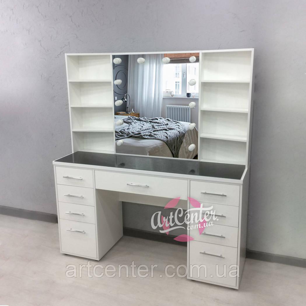 Удобное рабочее место визажиста/парикмахера, гримерный стол с полками и выдвижными ящиками белого цвета