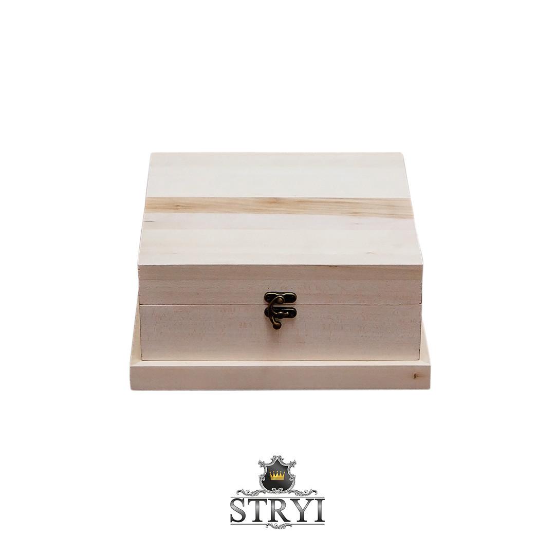 Шкатулка (заготовка) липовая с фрезерованными бортами 240*240*115мм, STRYI, для резьбы
