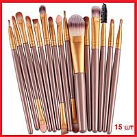 Набор кистей для макияжа / визажа Ma Ange 15 штук ROSEGOLD