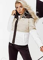 Трехцветная куртка женская с капюшоном ВШ/-144 - Бежевый, фото 1
