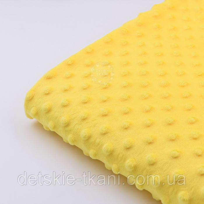 Отрез плюш minky М-12  желтого цвета размер 40*40