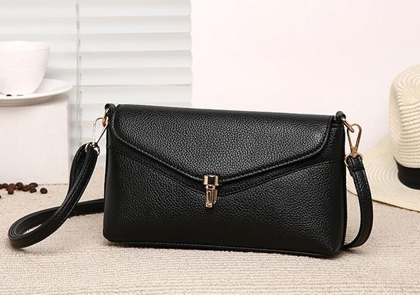 Модная женская сумка. Сумка клатч женская с клапаном (черная)