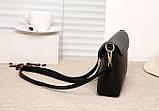 Модная женская сумка. Сумка клатч женская с клапаном (черная), фото 6