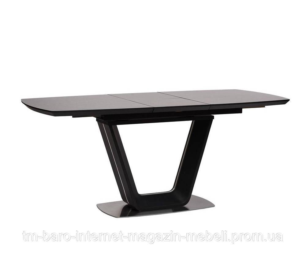 Стол обеденный Глостер темно-серый (Gloucester) матовое стекло+МДФ 140-180, Concepto
