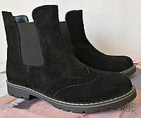 Женские черные ботинки в стиле Timberland натуральный замш осень весна