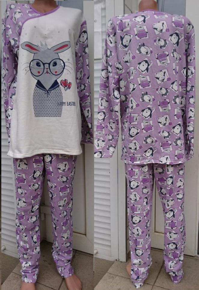 Жіноча байкова піжама Зайчик різних кольорів 42-56 р