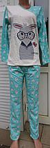 Жіноча байкова піжама Зайчик різних кольорів 42-56 р, фото 2