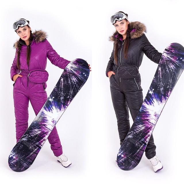 Картинка Жіночий комбінезон фуксія чорний для сноуборду