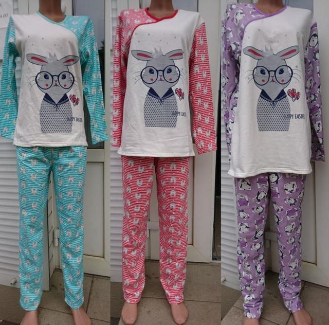 картинка утеплена жіноча піжама різних кольорів Зайчик 42-56 р