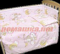 """Защита (ограждение, бортики, охранка, бампер) """"Мишка на лестнице"""" на всю кроватку из двух частей, 360х35 см"""