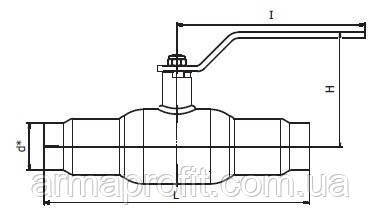 Кран шаровый стальной полнопроходной приварной INTERVAL Ду25 Ру40