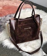 Женская комбинированная сумка в стиле Michael Kors Коричневая