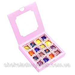 Шоколадные конфеты ручной роботы *Розовая коробка с окошком на 16шт.*