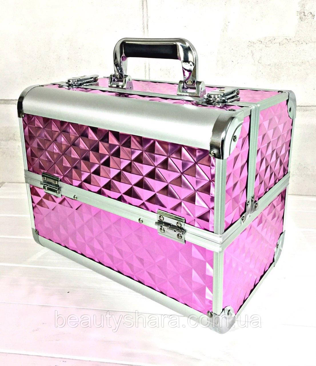 Кейс для косметики розовый (3D ромб)