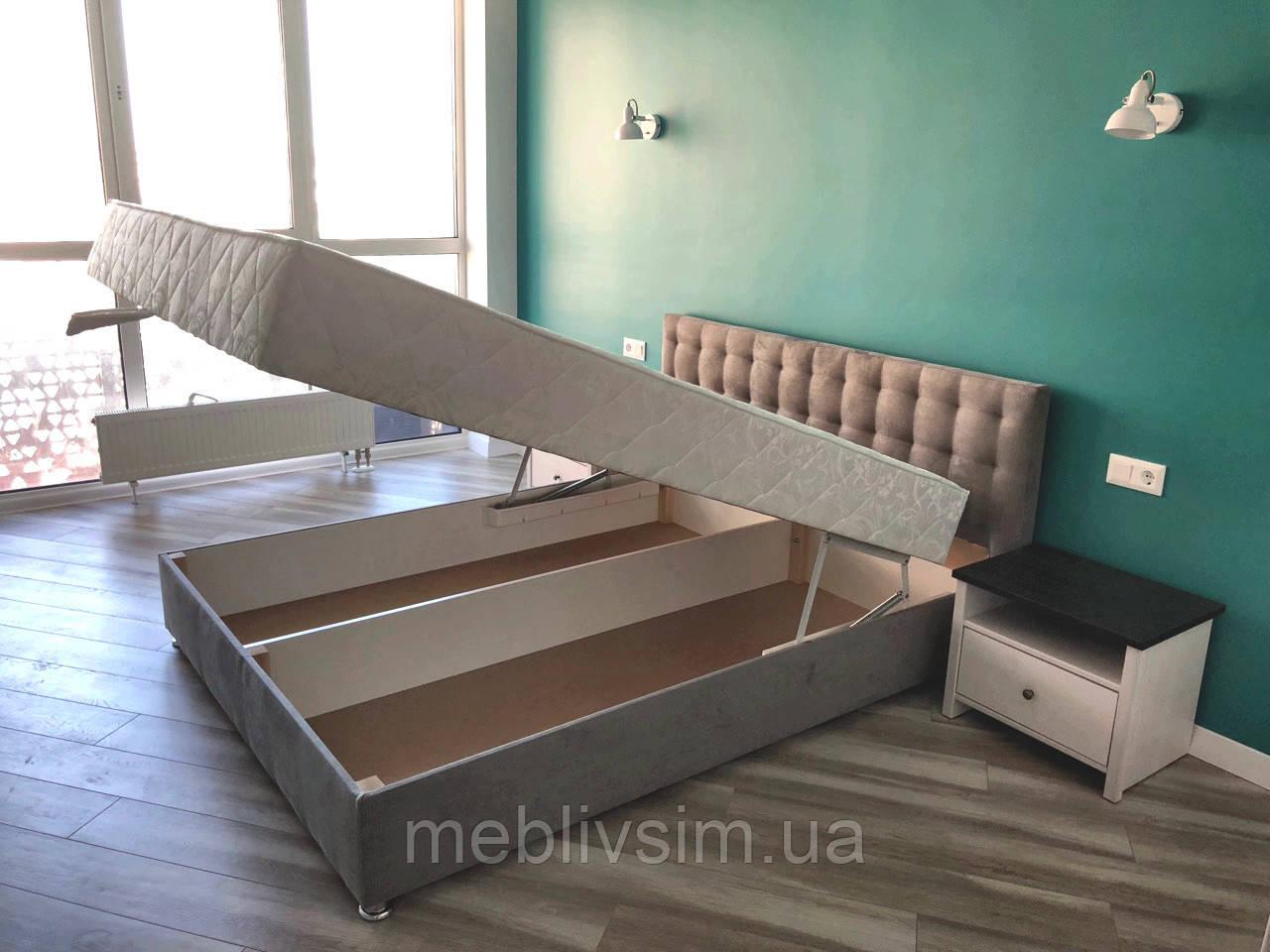 Кровать Альянс Камила 1,8 в обивке под замш мышиного цвета с матрасом и подъёмным механизмом без пуговиц