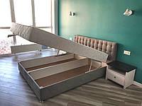 Кровать Альянс Камила 1,8 в обивке под замш мышиного цвета с матрасом и подъёмным механизмом без пуговиц, фото 1