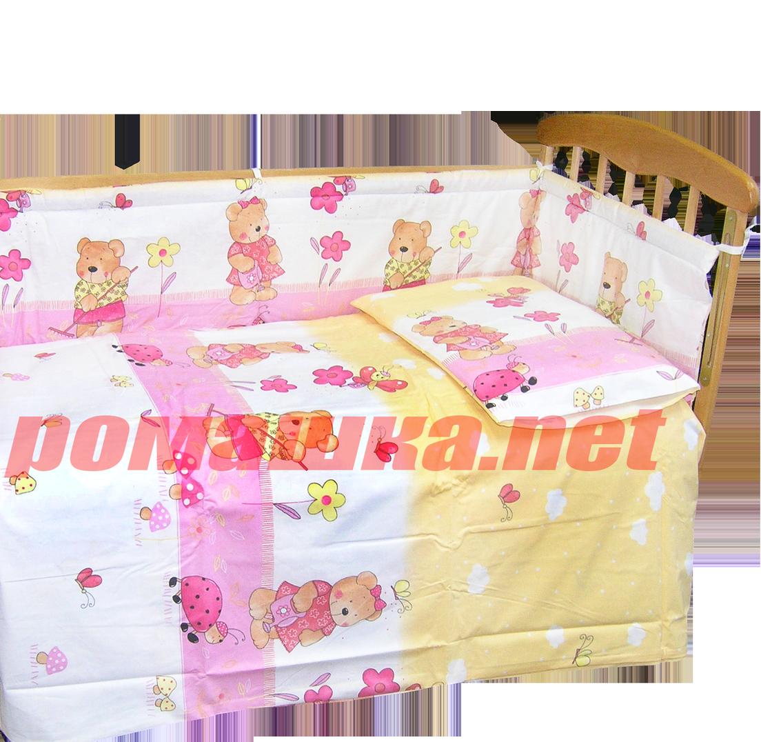 """Защита (ограждение, бортики, охранка, бампер) """"Мишка садовод"""" на всю кроватку из двух частей, 360х35 см"""
