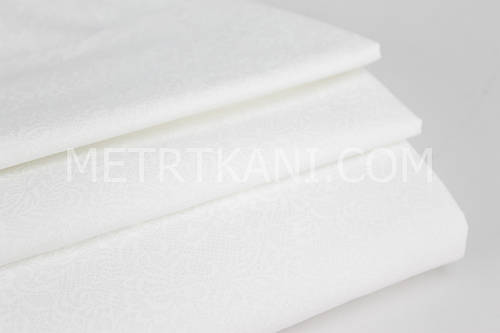 Ткань хлопок премиум класса с кружевом белого цвета на белом фоне №12-16