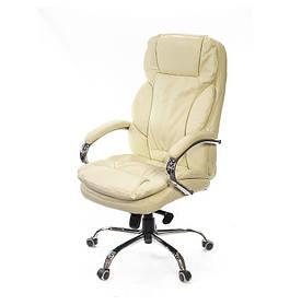 Кресло Тироль хром комбинированная кожа люкс Бежевая (АКЛАС-ТМ)