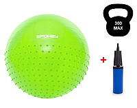 Гимнастический мяч для спорта с насосом 65 см, фитбол, мяч для фитнеса Spokey HALF FIT (920939)