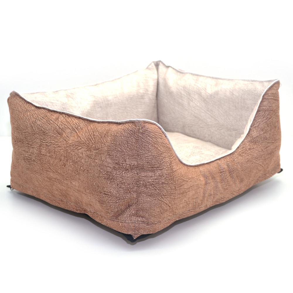 Лежак для собак и котов Мрия двусторонний бежевый+коричневый