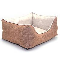 Лежак для собак и котов Мрия двусторонний бежевый+коричневый, фото 1