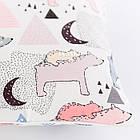 Плед и подушка с северными мишками и треугольниками розового цвета, фото 2