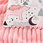 Плед и подушка с северными мишками и треугольниками розового цвета, фото 3