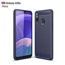 Чехол накладка для Samsung Galaxy A20s силиконовый, Carbon Fiber, темно-синий