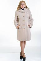 Пальто с капюшоном №9 бежевый р.44-52