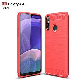 Чехол накладка для Samsung Galaxy A20s силиконовый, Carbon Fiber, красный