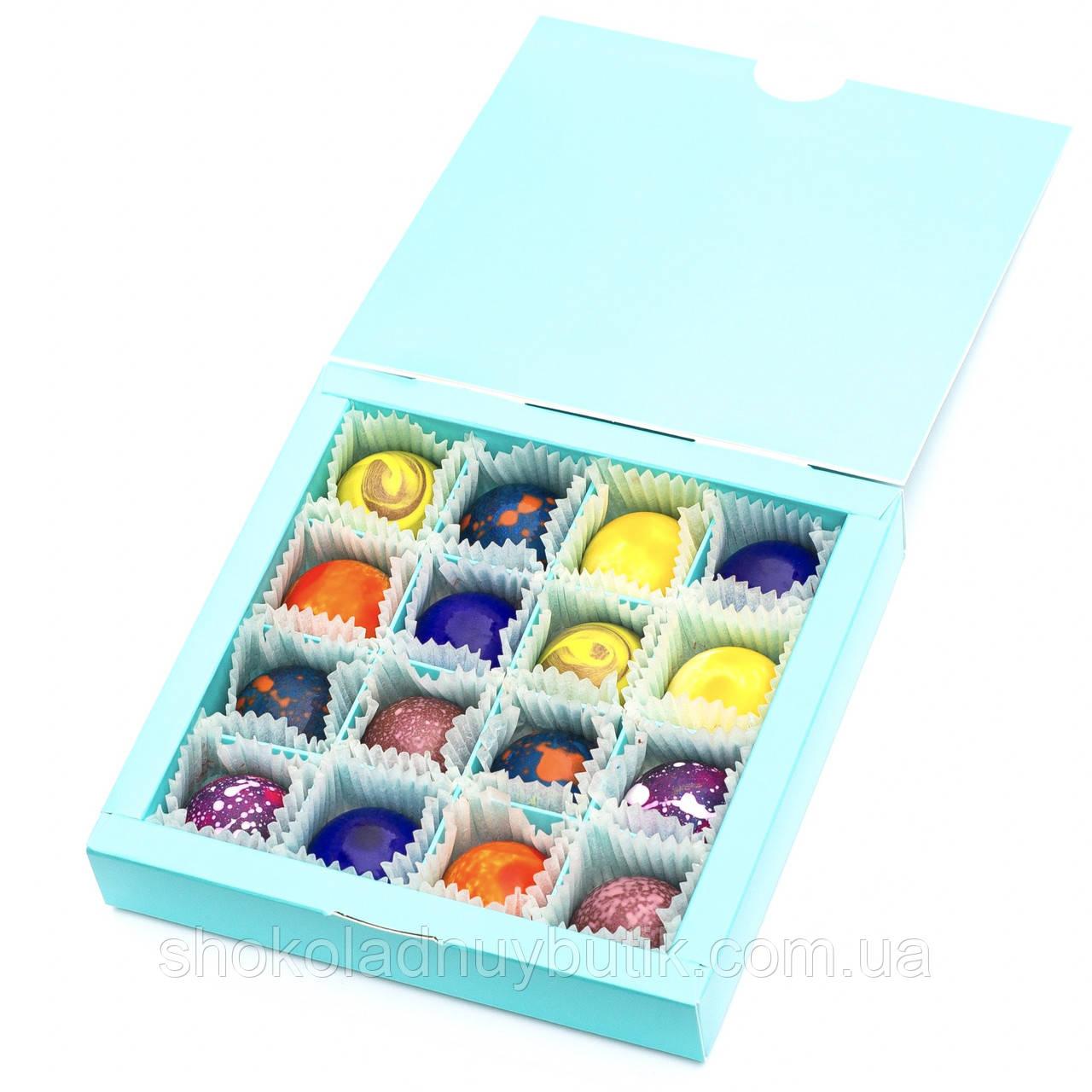 Шоколадные конфеты ручной работы *Бирюзовая коробк на 16шт.*