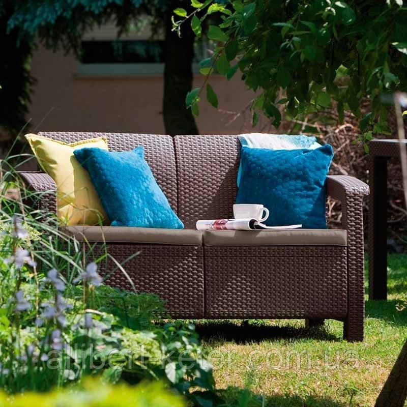 Keter Corfu Love Seat садовая мебель из искусственного ротанга