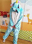 (S, M, L) Одежда для дома кигуруми голубой единорог v106, фото 3