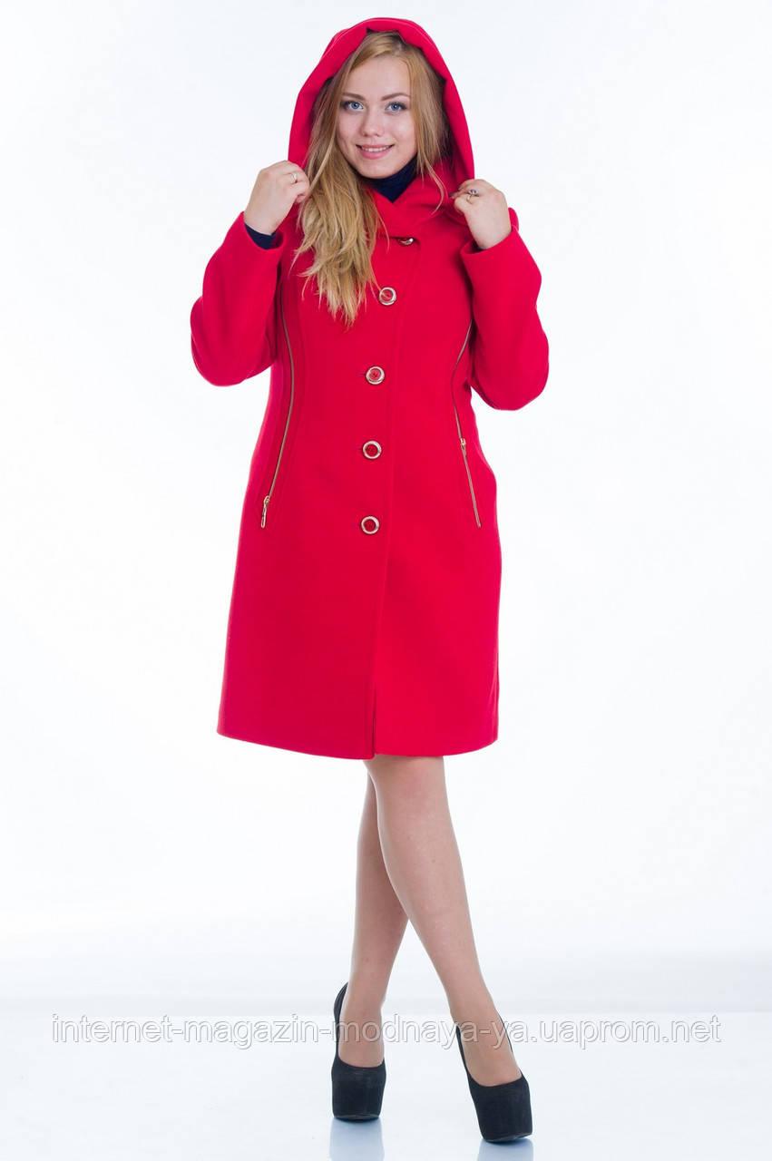 Пальто с капюшоном №9 красный р.46