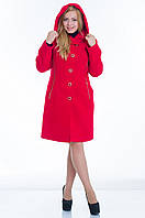 Пальто с капюшоном №9 красный р.46, фото 1