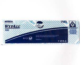 Протирочный материал WYPALL X80 в пачке, синий, 129,6 гр / м2, 25 листов, 1шар, Kimberly-Clark