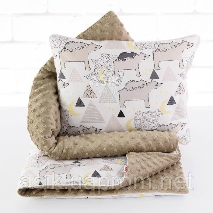 Плед і подушка з північними ведмедиками сіро-коричневого кольору