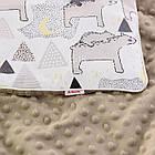 Плед і подушка з північними ведмедиками сіро-коричневого кольору, фото 3