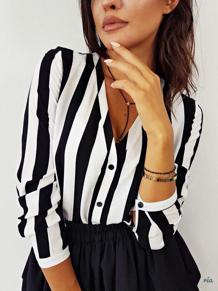 Полосатая женская рубашка прямого кроя с V-вырезом 77bir310