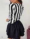 Полосатая женская рубашка прямого кроя с V-вырезом 77bir310, фото 4
