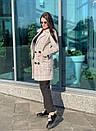 Женское клетчатое Пальто двубортное на утеплителе 58pal190, фото 2
