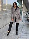 Женское клетчатое Пальто двубортное на утеплителе 58pal190, фото 5