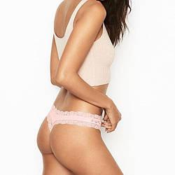 💋 Трусики Стринги Victoria's Secret Lace Thong Panty (p. XS, S), Розовые
