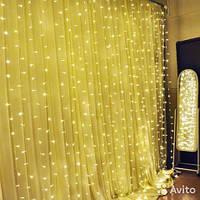 Светодиодная гирлянда LTL штора curtain 3*3 метра 300 led 220v теплое свечение